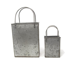 Galvanized Tote Bags, Assorted Sizes, 2-Piece