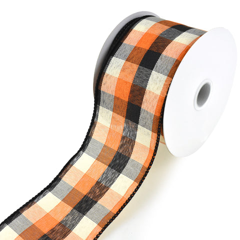 Afternoon Tonal Plaid Wired Edge Ribbon, 2-1/2-Inch, 10-Yard