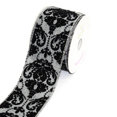 Canvas Ribbon with Flock Damask, 2-1/2-inch, 10 Yards