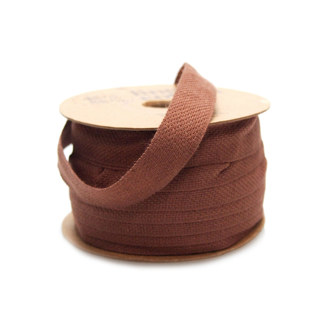 Cotton Linen Fabric Ribbon, 5/8-Inch, 25 Yards, Brown