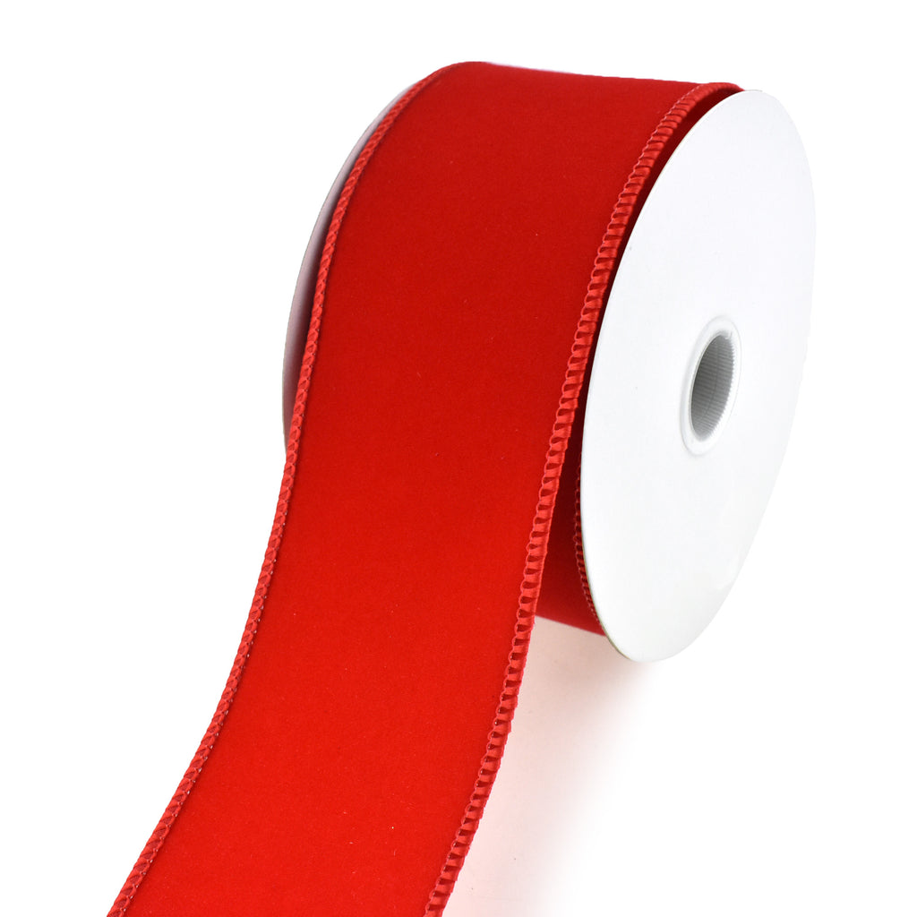 Christmas Velvet Ribbon Wired Edge, 2-1/2-Inch, 10 Yards, Red
