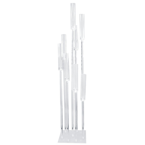 Acrylic Candle Holder Centerpiece, Clear, 8-Cylinder, 54-Inch