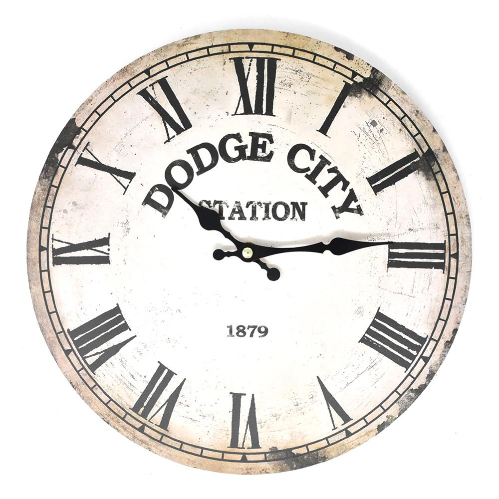 Distressed Dodge City Station Wall Clock, Beige, 11-3/4-Inch