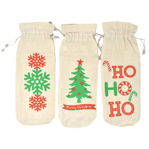 Christmas Drawstring Wine Bags, 14-Inch, 3-Piece