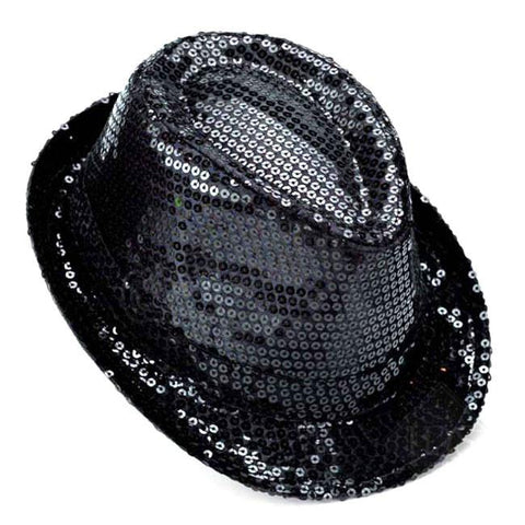 Party Top Hat with Sequins, 11-inch, Black