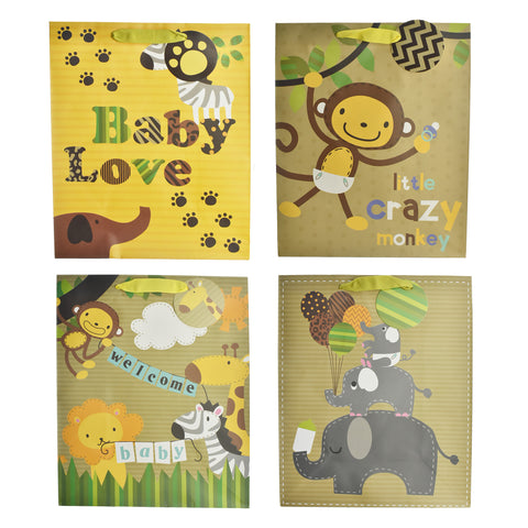 Baby Shower Safari Animals Gift Bags, 12-3/4-Inch, 4-Piece