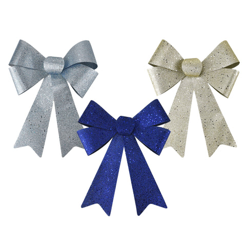 Glitter PVC Christmas Bows, Navy Blue, 15-Inch, 3-Piece