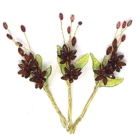 Acrylic Translucent Flower Spray with Leaves, Burgundy, 5-inch, 12-Count
