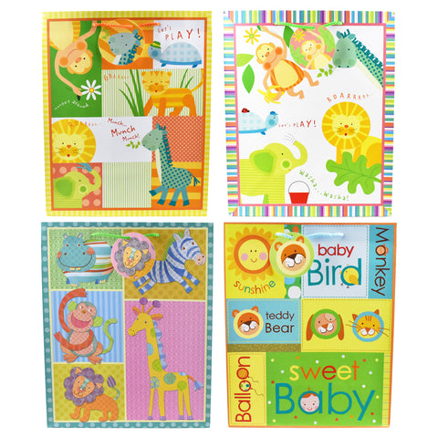 Baby Shower Playing Animals Gift Bags, 12-3/4-Inch, 4-Piece