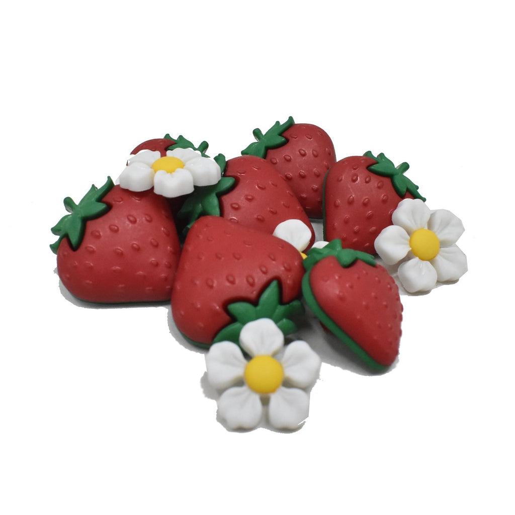 Craft Strawberry and Flower Buttons, Red, 10-Piece