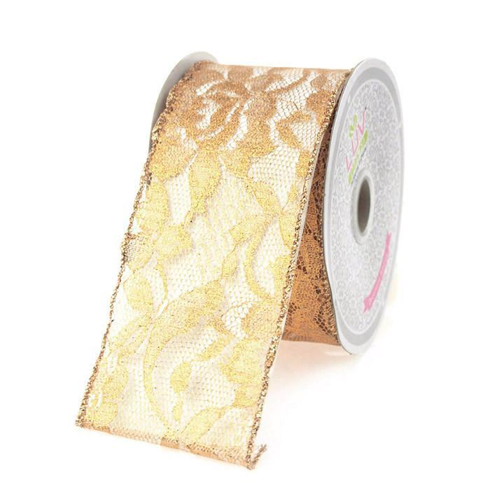 Metallic Floral Lace Trim Ribbon, 2-1/2, 10-yard, Gold