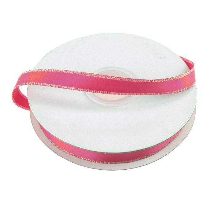 Satin Ribbon with Iridescent Edge, 3/8-Inch, 25 Yards, Hot Pink