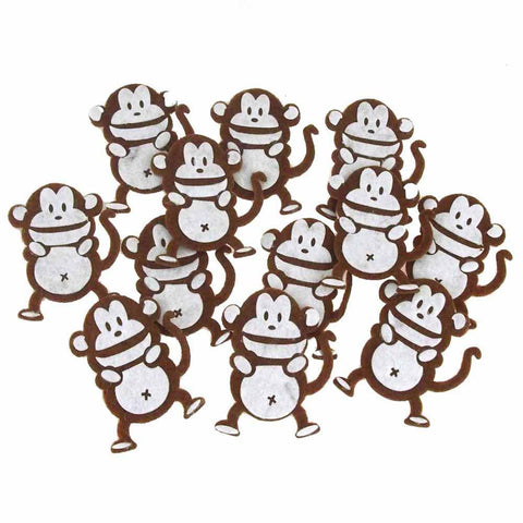 Monkey Felt Animals, White/Brown, 2-1/2-Inch, 12 Piece