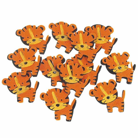 Tiger Felt Animals, Yellow/Orange, 2-Inch, 12 Piece