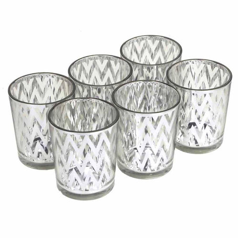 Chevron Votive Candle Holder Glass, 2-1/2-Inch, 6-Piece, Silver