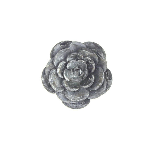 Metal Gray Galvanized Magnetic Garden Rose, 4-Inch