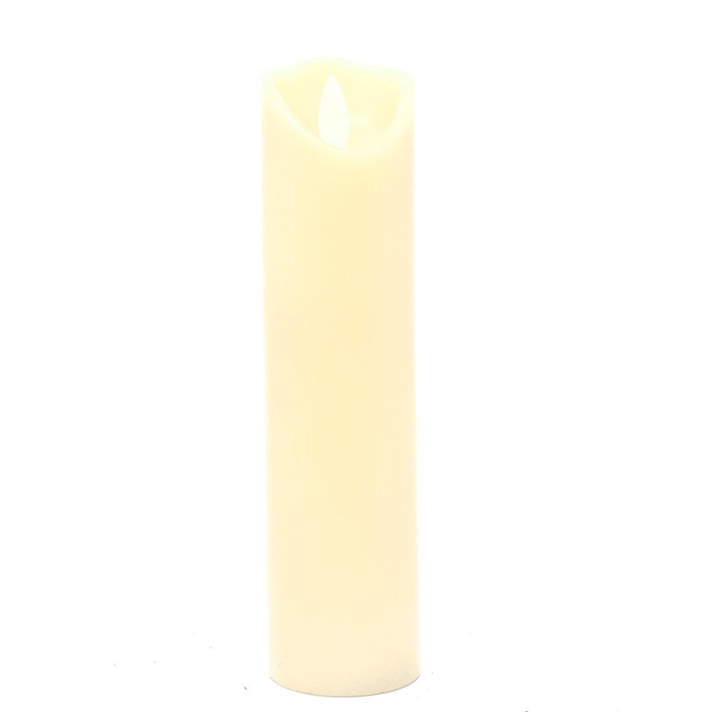 Flameless Wax Slender Pillar LED Candle, Ivory, 7-Inch