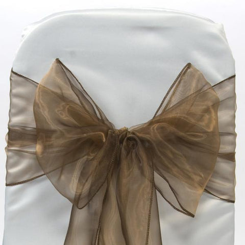 Organza Chair Bow Sash, 9-inch, 10-feet, 6-piece, Brown
