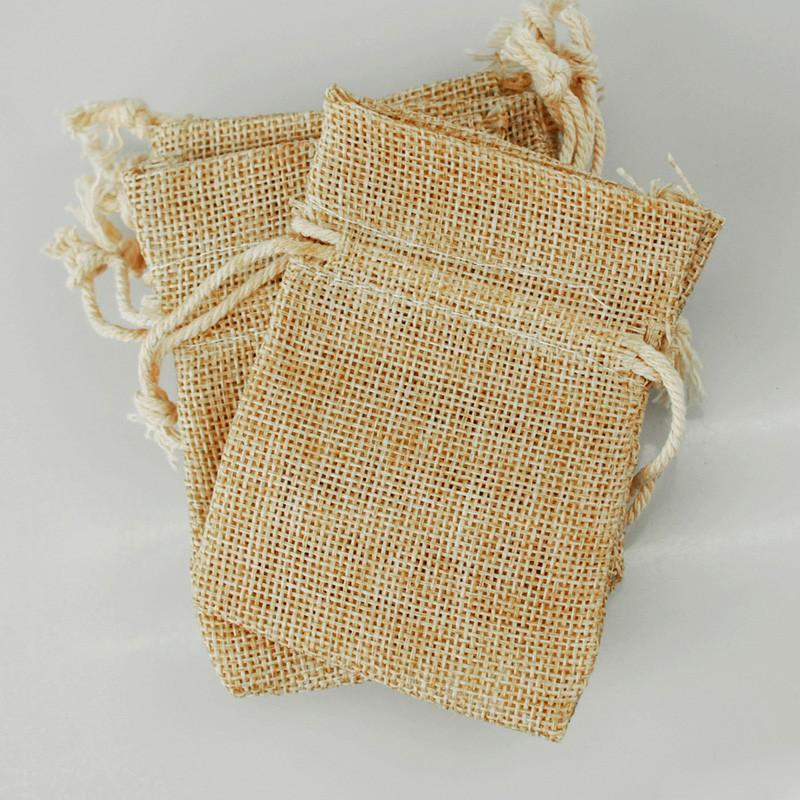 Faux Burlap Pouch Bags, 3-inch x 4-inch, 6-Piece, Natural