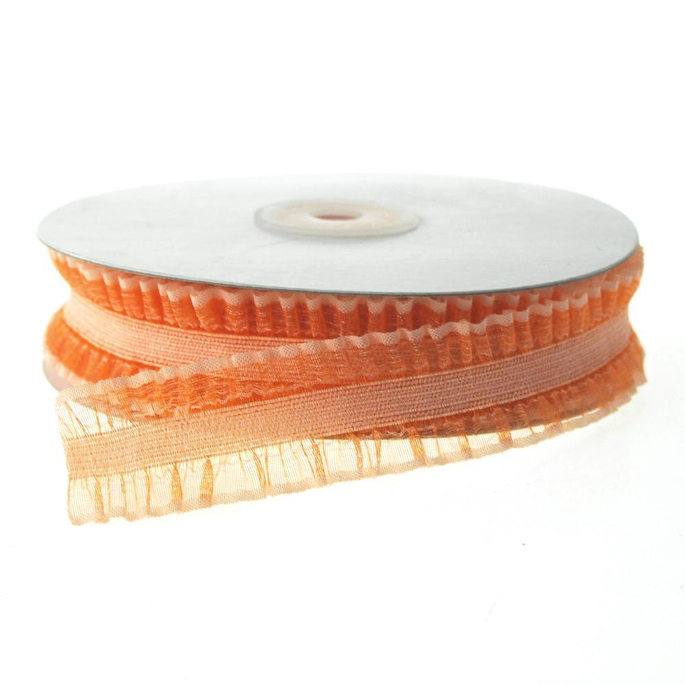 Stretchable Ruffled Organza Ribbon, 1-Inch, 10 Yards, Orange
