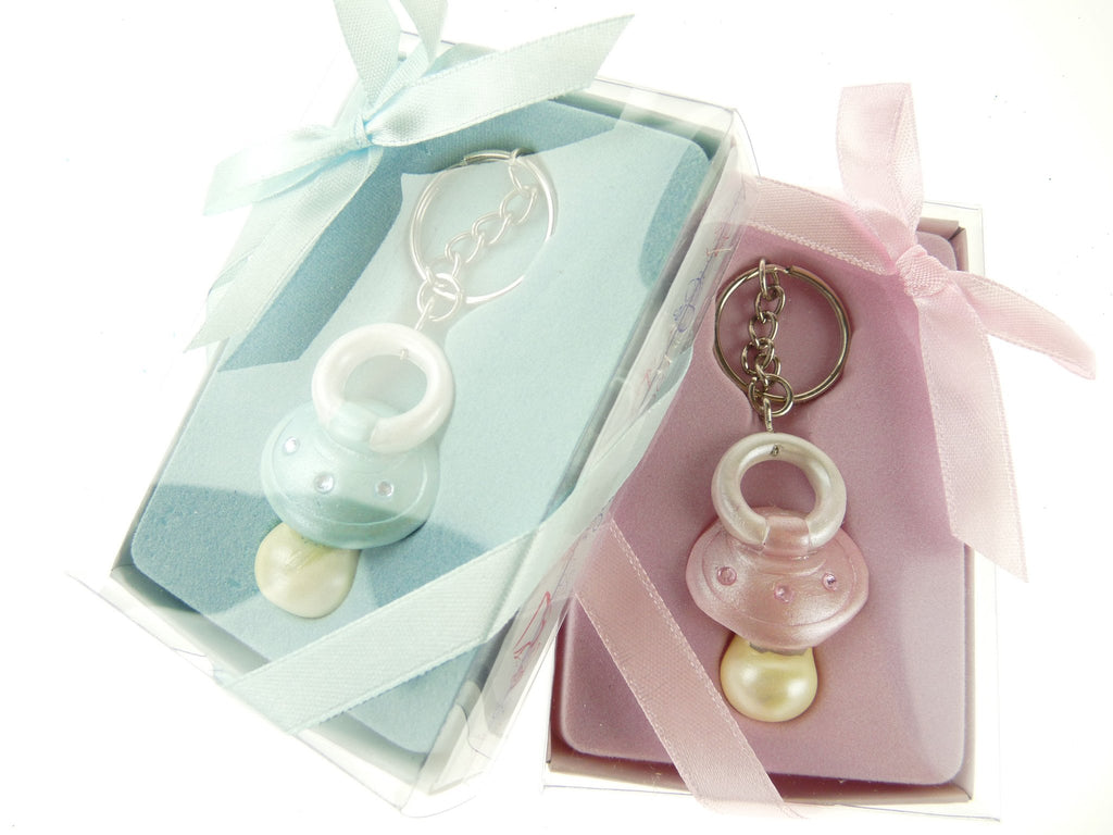 Keychain Favors, 4-Inch, Baby Pacifier, Light Blue