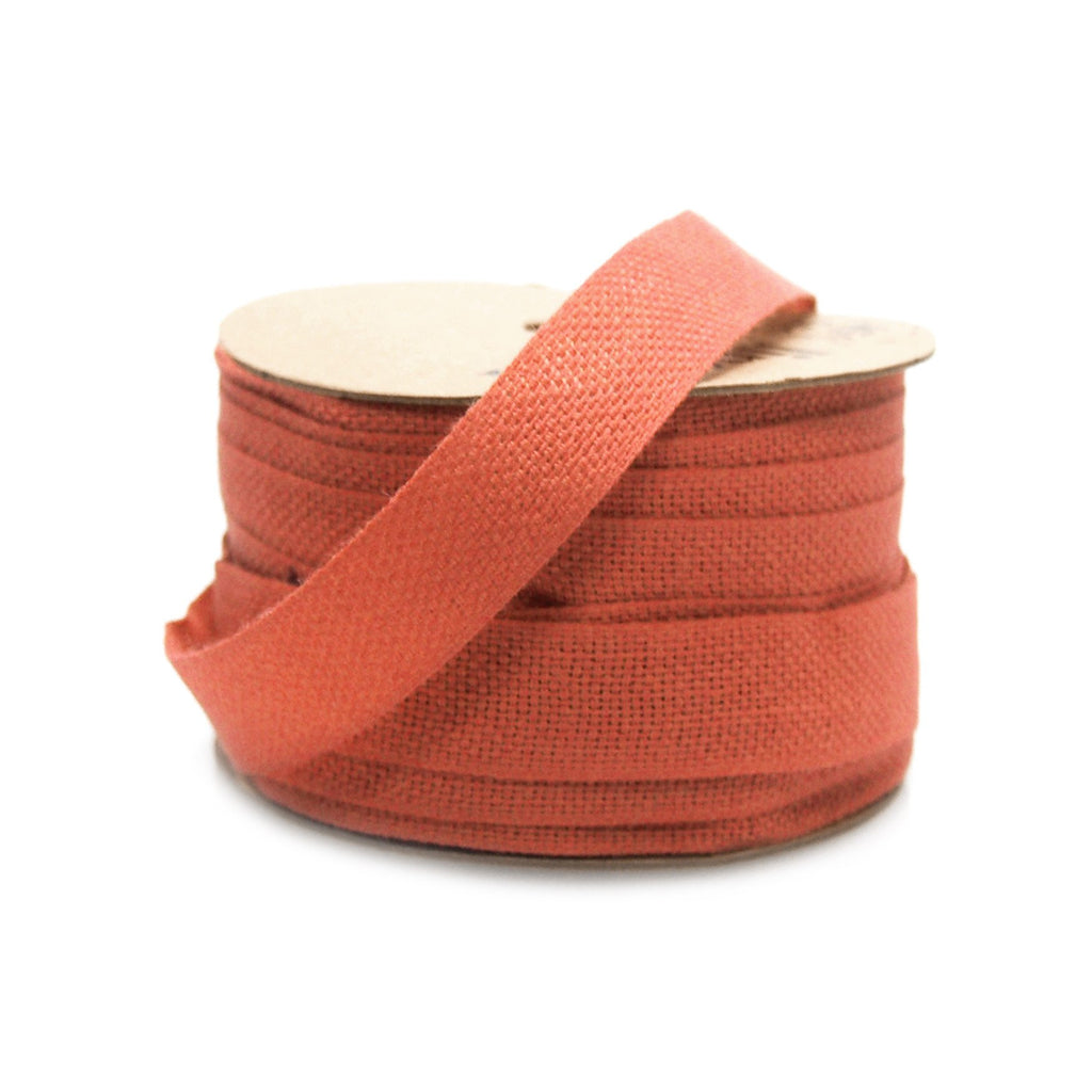 Cotton Linen Fabric Ribbon, 5/8-Inch, 25 Yards, Red
