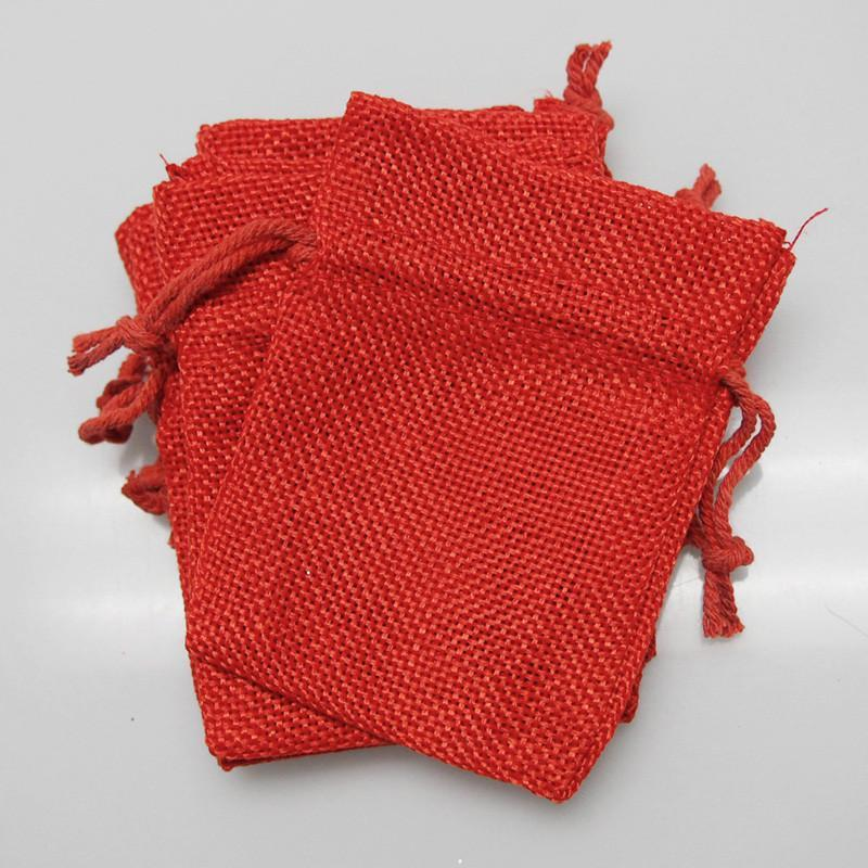 Faux Burlap Pouch Bags, 4-inch x 5-inch, 6-Piece, Red