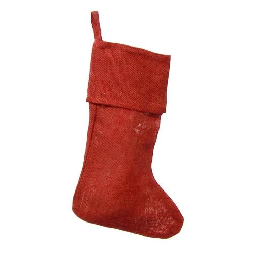 Plain Burlap Christmas Stocking, Red, 16-Inch