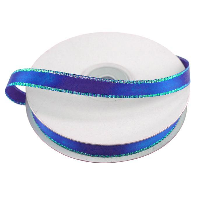 Satin Ribbon with Iridescent Edge, 3/8-Inch, 25 Yards, Royal Blue