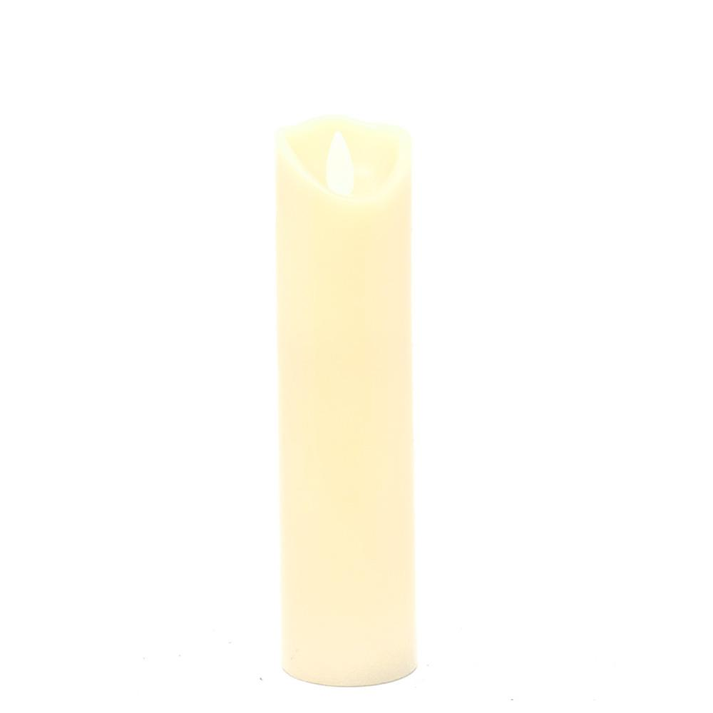 Flameless Wax Slender Pillar LED Candle, Ivory, 6-Inch
