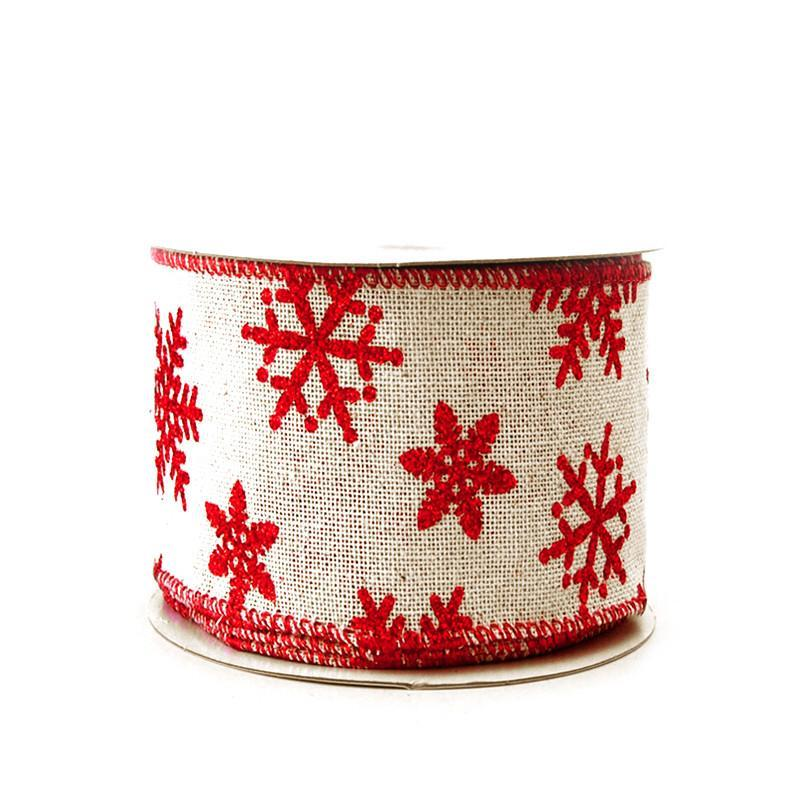 Red Snowflakes Faux Burlap Christmas Ribbon, 2-1/2-inch, 10-yard