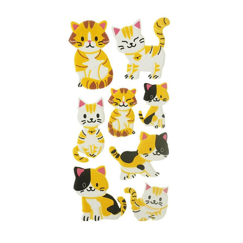 3D Flocked Puffy Cat Clique Stickers, 8-Piece