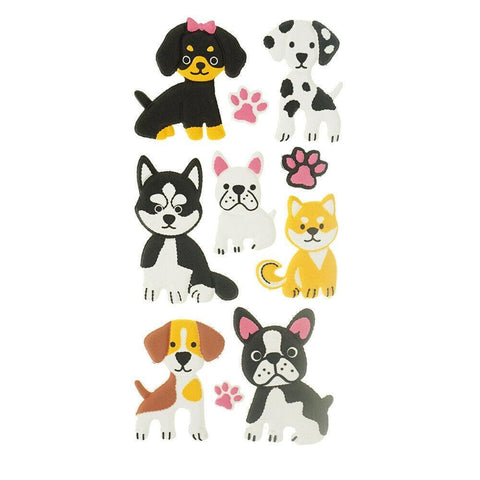 3D Flocked Puffy Puppy Pals Stickers, 10-Piece