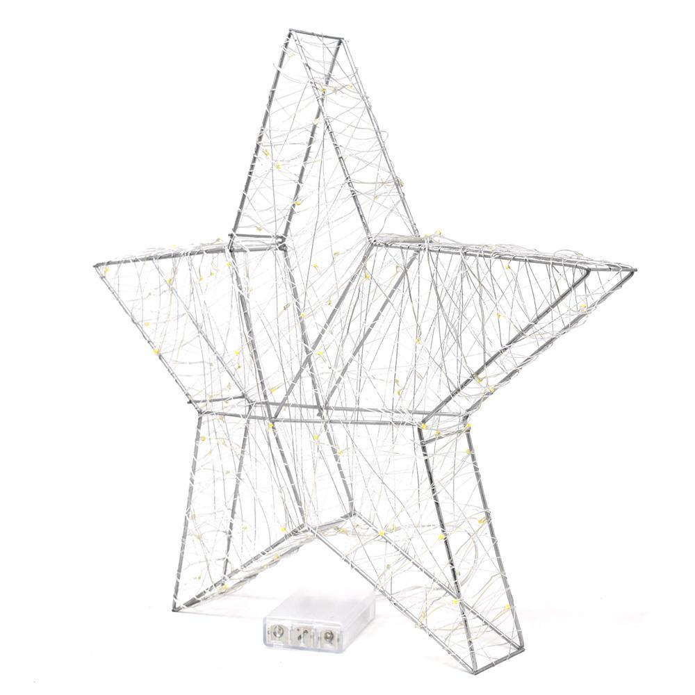 LED Metal Wired Christmas Star Stand, Silver, 15-Inch
