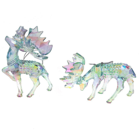 Acrylic Glass Moose Christmas Tree Ornaments, Blue, 5.3-Inch, 2-Piece