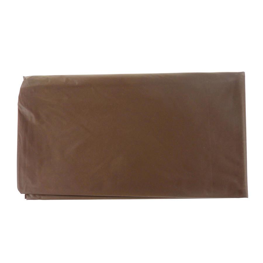 Plastic Table Cover, Round, 84-Inch, Brown