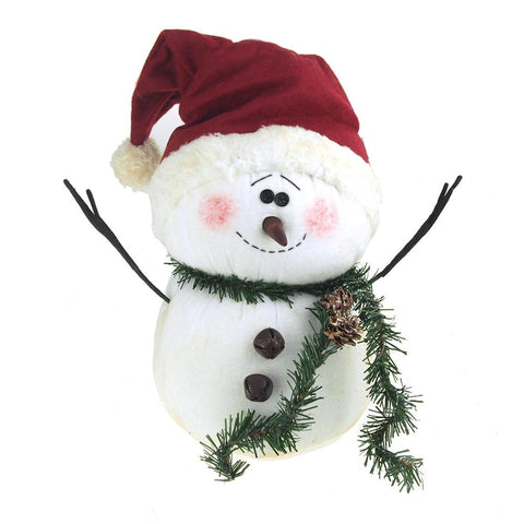 Blushing Plush Snowman with Santa Hat Holiday Winter Decor, White, 13-Inch