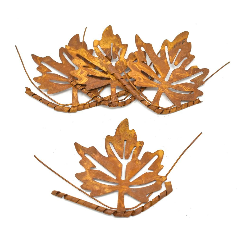 Metal Distressed Maple Leave Christmas Ornament, Rust, 4-Inch, 4-Count