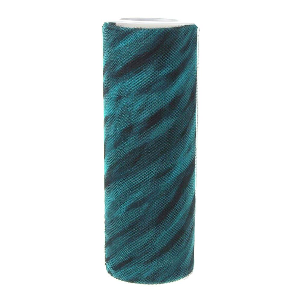 Zebra Print Tulle Roll Spool, 6-Inch, 10 Yards, Turquoise