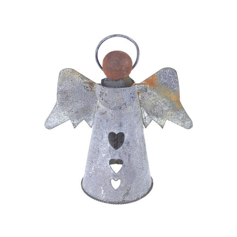 Christmas Gray Tin Angel with Wood Head, 6-inch