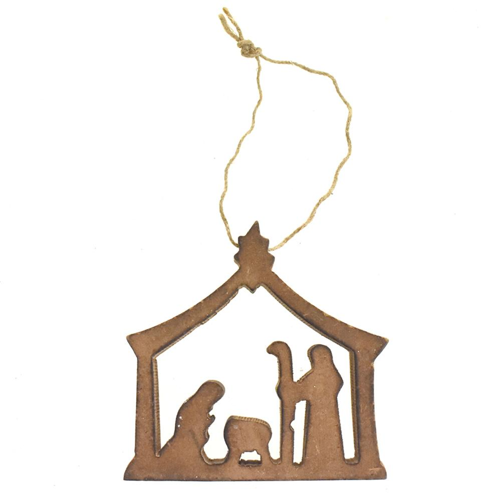 Wooden Nativity Scene Christmas Ornament, 3-Inch