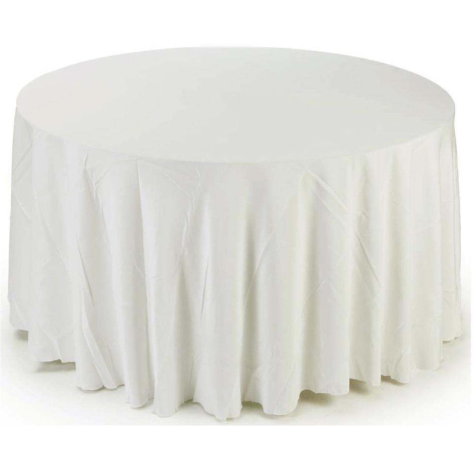 Round Fabric Table Cloth Cover, 120-Inch, White