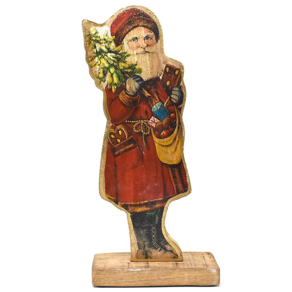 Wooden Santa on Base Tabletop Christmas Decoration, 17-Inch