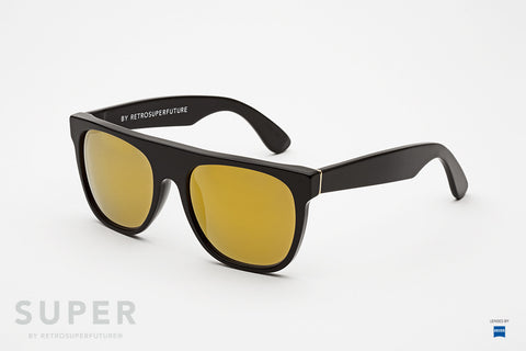 Super Flat Top Black 24k Sunglasses