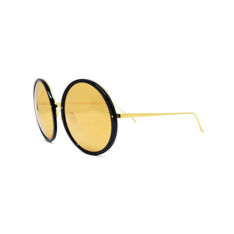 Linda Farrow 457 Round Sunglasses In Black & Gold