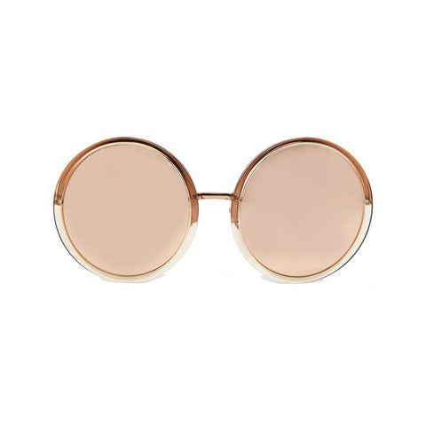 Linda Farrow 457 Round Sunglasses In Rose Gold