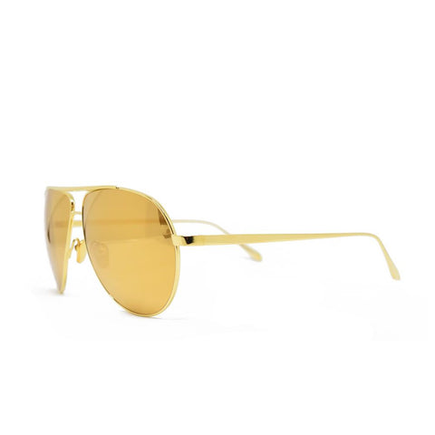 Linda Farrow 501 Aviator Sunglasses in Yellow Gold