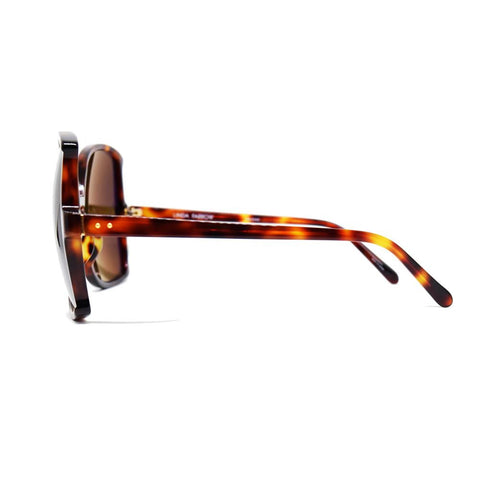 Linda Farrow 514 Oversized Sunglasses in Tortoise Shell