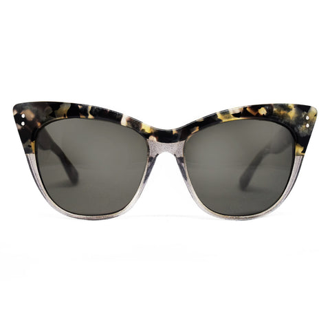 Linda Farrow Cat Eye Sunglasses in Marble and Grey Glitter