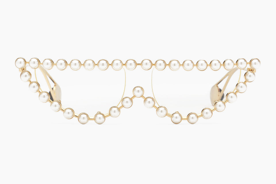 bc6a438117c Gucci Cat Eye Metal Glasses with Pearls